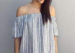 Linen Grey Stripe Off-Shoulder Top
