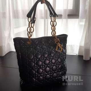 Christian Dior Black Cannage Quilted Lambskin Leather Soft Tote Bag