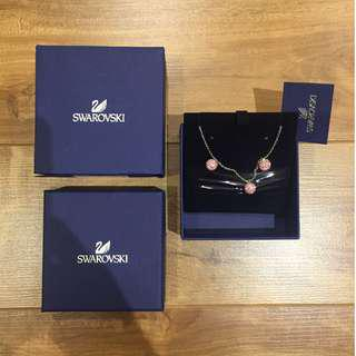 Authentic Swarovski Earring + Necklace Rose Pink Disco Ball Set