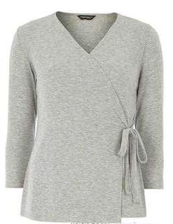 Dorothy Perkins grey wrap blouse