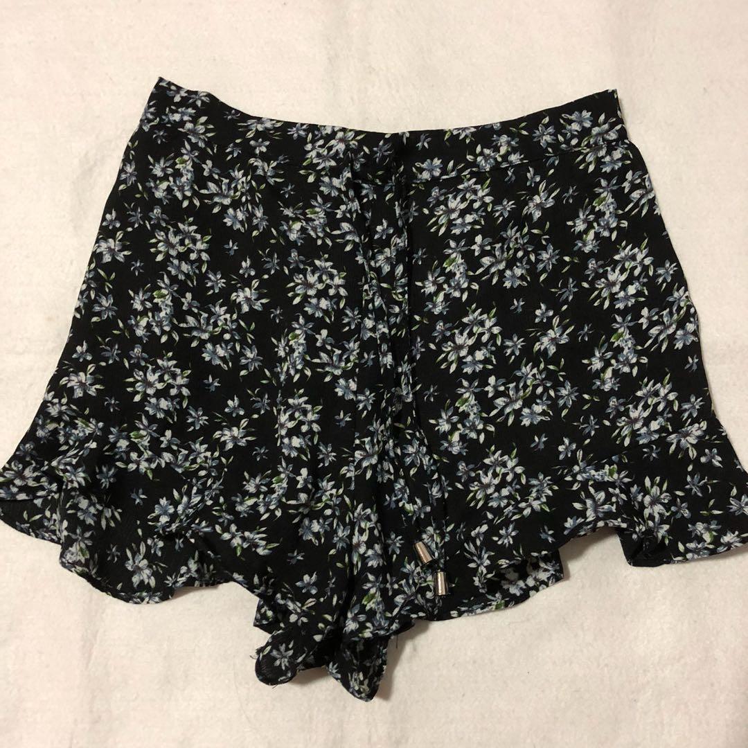 fc27cba98a 114 temt black floral drawstring chiffon high waist shorts, Women's ...