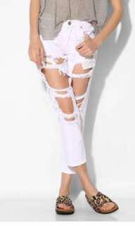 White ripped cut out denim boyfriend jeans
