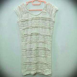 Toki Choi Cream lace crochet pencil dress