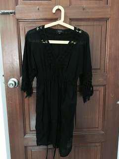 Zalora Black Beachwear Boho Sheer Dress