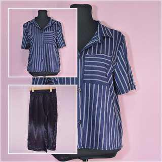 BUY1GET1 Blue stripe polo