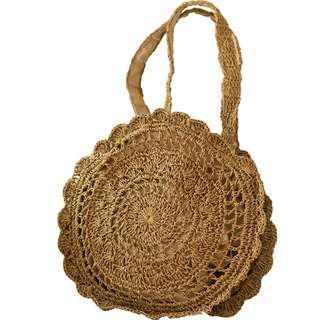 預購 夏日手工針織編織草編包 圖騰 側背包 單肩背包 沙灘 海灘 花紋 波西米亞風
