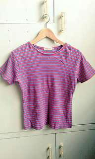 Red, blue and white stripes top