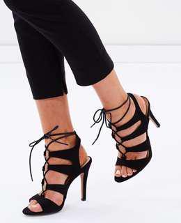 Black Lace-up Heel