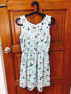 ZARA Floral Backless Light Blue Dress