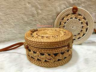 Double braided rattan bags