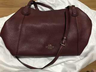 Authentic preloved coach two ways bag in maroon