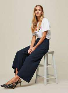 Navy Cropped Wide Leg Trousers