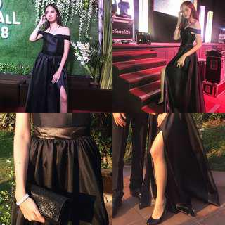 Black Gown with Slit - For Prom (FOR RENT ONLY).