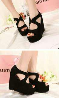 PREORDER Suede Black platform wedges shoes * waiting time 15days after payment is made *pm if int