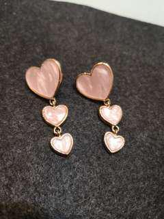 Dangling pink Heart earrings (#038)