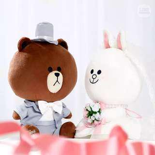 Line Wedding Brown Cony plushies