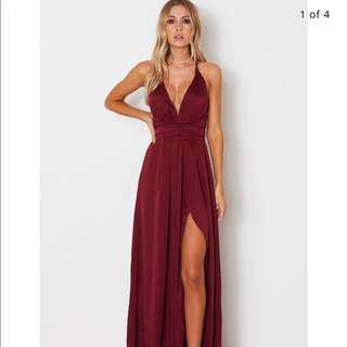 Gorgeous deep red formal maxi dress