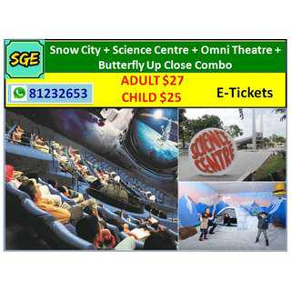 Snow City + Science Centre + Omni Theatre + Butterfly Up Close Combo