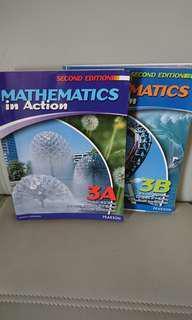 $60 for 2,Mathematics in Action Book 3A, 3B 分折版,有寫花不想浪費所以平售