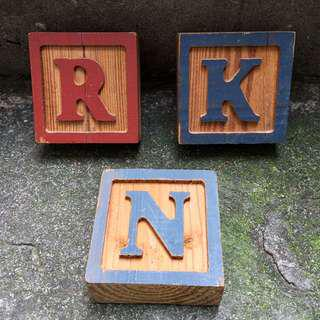 Carved wooden blocks