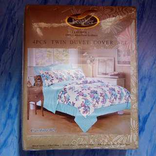 Feather 4pcs Twin Duvet Cover Bed sheet
