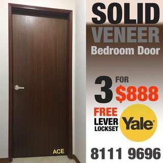 VENEER BEDROOM DOOR with FREE lever lock