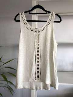 Dotti White Stud Knit Top