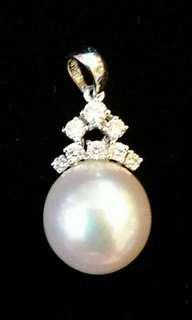 18k珍珠鑽石吊咀 石重27分