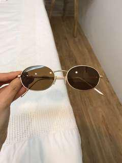 Sunnies Studios Round Sunglasses Brown with gold