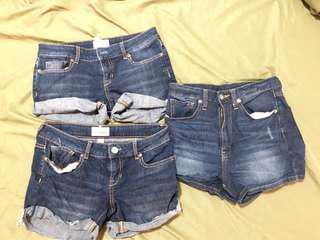 LOt of 3 denim shorts