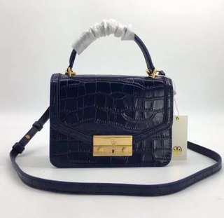 Tory burch juliette croc mini top handle crossbody bag-dark blue