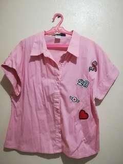 Pink-collared Crop Top with Patches