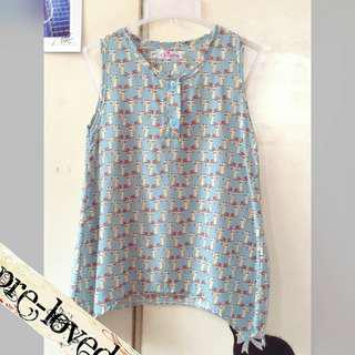 Baby blue S/L top with cat print