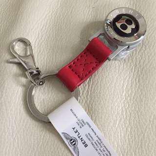 """全新 BENTLEY """"B"""" Red Leather Keyring 真皮 鎖匙扣(不議價 fixed price)"""