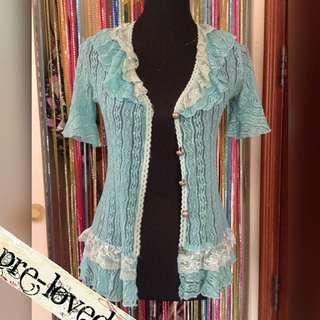 Mint blue lace S/L blazer w/ ruffled collar