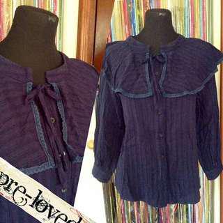 Dark blue L/S blouse w/ poncho shoulders