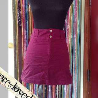 Maroon highwaist skirt
