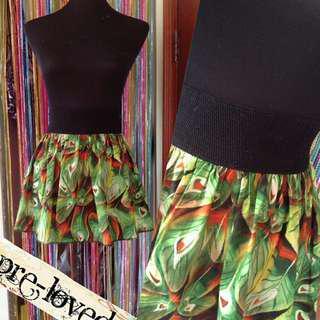 Green peacock print skirt w/ garter waistband
