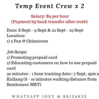 Temp Event Crew x 2  - Chinatown