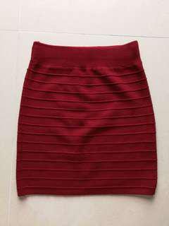 Red Knitted Bandage skirt