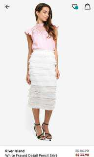 River island white frayed pencil skirt