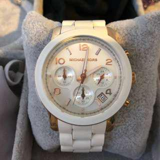 Michael Kors Women White and Rose Gold Watch