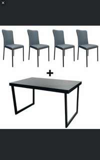 Dining table glass top + 4 chairs INSTOCK!