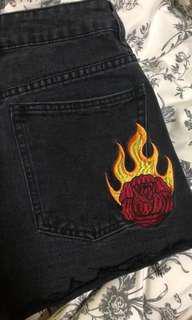 factorie black denim rose embroidered flame highwaist shorts