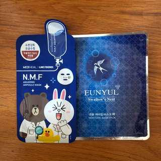 Mask from Korea 2 pcs 圖中2片韓國面膜 有熊大 line bear