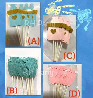 (5/9) Free Normal Mail -  Baby boy Baby girl Cupcake /Cake Topper Tags / Baking Supplies/ Cake Decoration (baby shower / full month / 100 days )