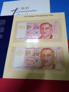 $10-polymer presidential note Unc.2pcs running sign LHL.Only 10pcs issue .MAS008771-MAS008772.ORIGINAL WITH FOLDER.