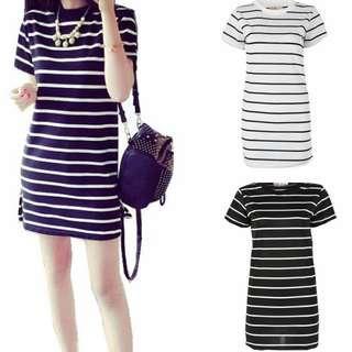 * Ready Stock * Black & White Stripe Basic Plain Short Sleeve Dress