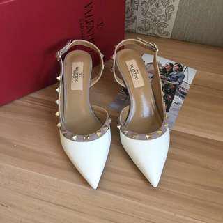 ⚠️SALE⚠️ Valentino Rockstud Slingback Sandals size 37 white