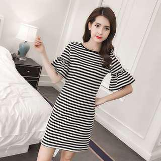 * Ready Stock * Black White Stripe Bell Sleeve Dress